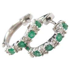 14k White Gold .32 ctw Natural Emerald and Diamond Huggie Hoop Earrings