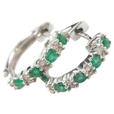 14k White Gold .32 ctw Natural Emerald and Diamond Huggie Hoop Earrings