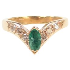 .32 ctw Natural Emerald and Diamond Chevron V-Shaped Knuckle Ring / Pinky Ring / Baby / Childs