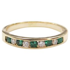.32 ctw Natural Emerald and Diamond Band Ring 14k Gold