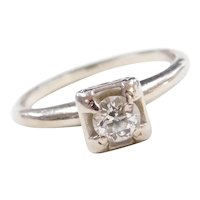 Vintage 14k White Gold .33 Carat Diamond Solitaire Engagement Ring
