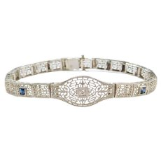 "7"" Art Deco .33 ctw Sapphire and Diamond Filigree Bracelet 14k White Gold"