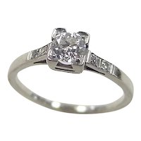 Art Deco 18k White Gold .33 Carat Diamond Engagement Ring