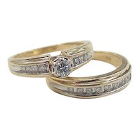 Vintage 14k Gold Two-Tone .345 ctw Diamond Rings Set ~ Engagement Ring and Wedding Band