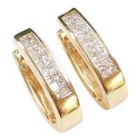 14k Gold .36 ctw Diamond Hoop Earrings