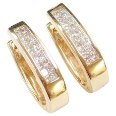 14k Gold .36 ctw Diamond Hoop Earrings