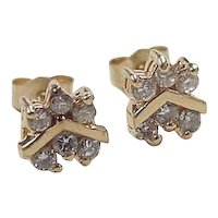 Vintage 14k Gold .36 ctw Diamond Stud Earrings