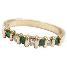 14k Gold .36 ctw Natural Emerald and Diamond Ring