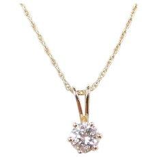 """Vintage 14k Gold .38 Carat Diamond Necklace ~ 18"""""""