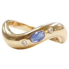 .38 ctw Natural Cabochon Cut Sapphire and Diamond Wave Ring 14k Gold