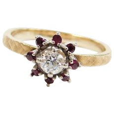 14k Gold .42 ctw European Cut Diamond and Ruby Flower Burst Ring Two-Tone