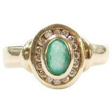 .43 ctw Natural Emerald and Diamond Halo Ring 14k Gold