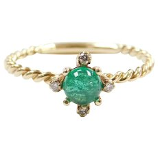 Sweet 14k Gold .44 ctw Natural Emerald and Diamond Ring with Twisted Shank