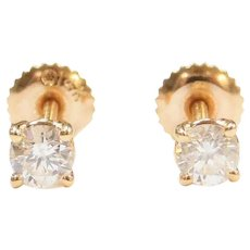 .46 ctw Diamond Stud Earrings 14k Gold Screw Posts and Backings ~ Baby / Childs
