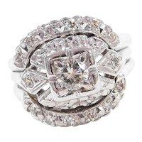 Vintage 14k White Gold .47 ctw Diamond Engagement Ring