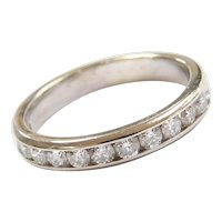 Vintage 14k White Gold .48 ctw Diamond Wedding Band Ring