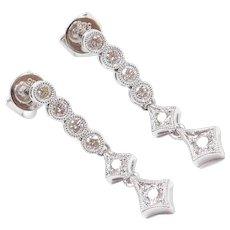 Vintage 14k White Gold .48 ctw Diamond Dangle Earrings