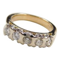 Vintage 14k Gold Two-Tone 1/2 ctw Diamond Wedding Band Ring