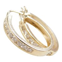 Vintage 14k Gold .50 ctw Diamond Hoop Earrings
