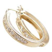 Vintage 14k Gold .50 ctw Diamond Hoop Earrings