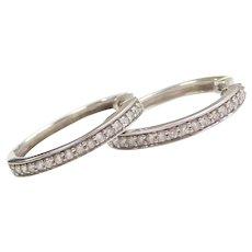 .50 ctw Diamond Hoop Earrings 14k White Gold
