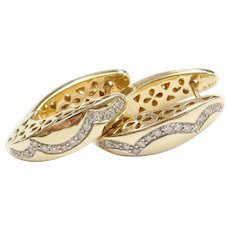 Designer Diamond Hoop Earrings .50 ctw  14k Gold, Ciemme