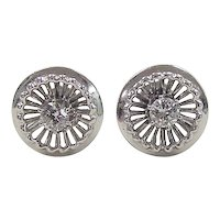 Vintage 14k White Gold .50 ctw Diamond Stud Earrings ~ Screw Backs