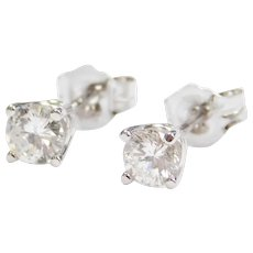 .50 ctw Diamond Stud Earrings 14k White Gold