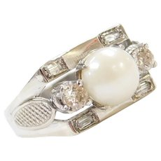 1940's 10k White Gold .50 ctw Diamond and Cultured Pearl Ring
