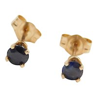 14k Gold .50 ctw Natural Sapphire Stud Earrings