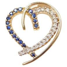 14k Gold .50 ctw Sapphire and Diamond Heart Pendant