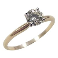 Vintage 14k Gold Round Brilliant .50 ctw Diamond Solitaire Ring