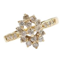 Vintage 14k Gold .51 ctw Diamond Cluster Ring