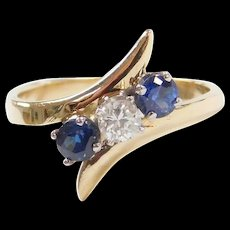 Vintage 14k Gold .51 ctw Natural Sapphire and Diamond Bypass Ring