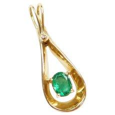 .52 Carat Natural Emerald 18k Gold Elongated Teardrop Pendant