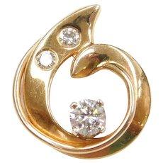 .52 ctw Diamond Freeform Circle Pendant 14k Gold