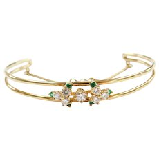 18k Gold .53 ctw Natural Emerald and Diamond Bracelet