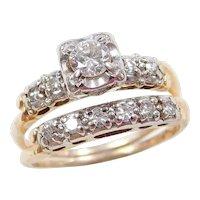 Vintage 14k Gold Two-Tone .55 ctw Diamond Wedding Set ~ Engagement Ring and Wedding Band