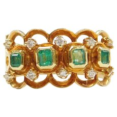 .55 ctw Natural Emerald and Diamond Wide Ring 18k Gold