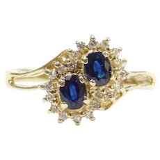 .56 ctw Sapphire and Diamond Bypass Double Halo Ring 14k Gold