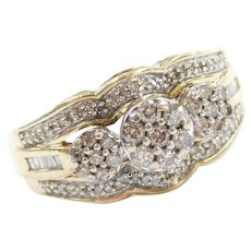 10k Gold .58 ctw Diamond Cluster Ring Two-Tone