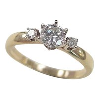 Vintage 14k Gold Three Stone .59 ctw Diamond Ring