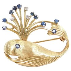 .59 ctw Sapphire and Diamond Spraying Whale Pin / Brooch