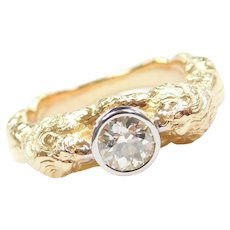 King of the Jungle LION 18k Gold Ring with .60 Carat Diamond Bezel Set in Platinum