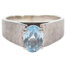 .60 Carat Aquamarine Ring 14k White Gold Textured Ring