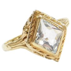 Edwardian .60 Carat Natural Aquamarine Ring 14k Gold