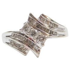 .61 ctw Diamond Bypass Ring 10k White Gold