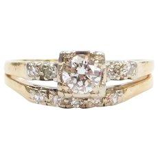 .61 ctw Diamond Engagement Ring and Wedding Band Set 1940's 14k Gold