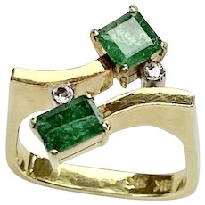 .62 ctw Natural Emerald and Diamond Bypass Ring 14k Gold