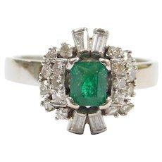 Retro .63 ctw Natural Emerald and Diamond 18k White Gold Ring